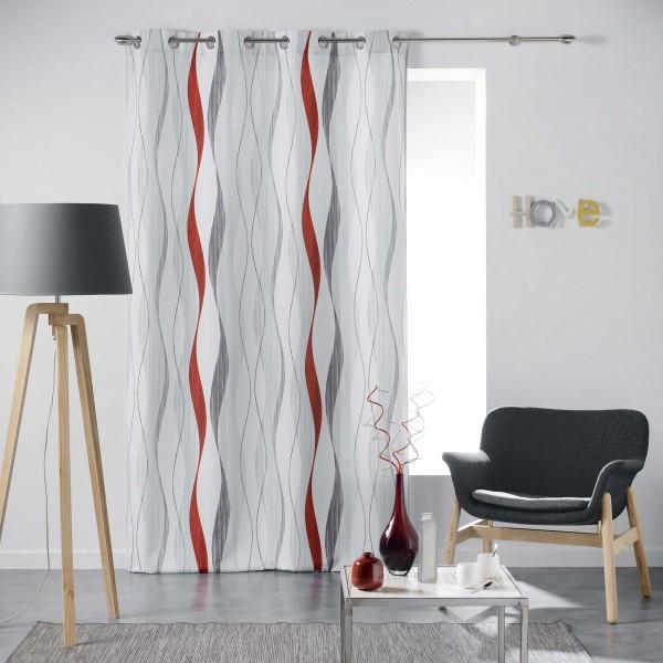 rideau tamisant 140 x 260 cm ondulys rouge rideau. Black Bedroom Furniture Sets. Home Design Ideas