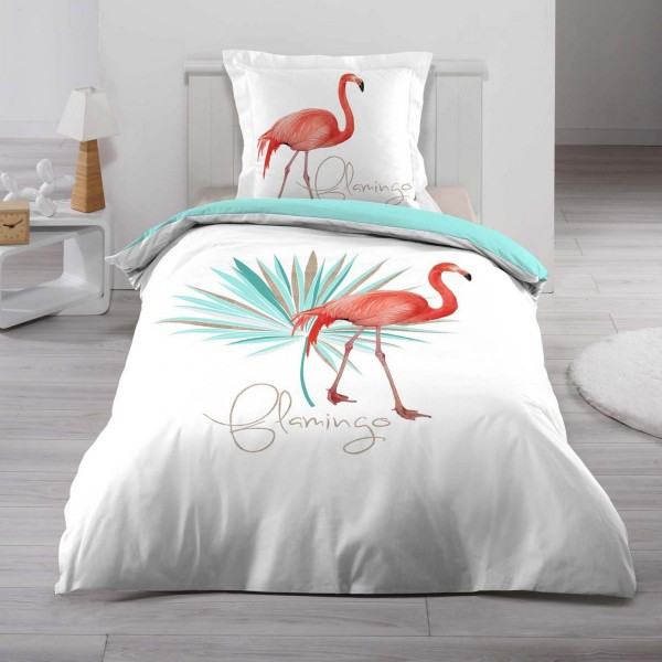 housse de couette et une taie coton 140 cm flamingo blanc et bleu linge de lit eminza. Black Bedroom Furniture Sets. Home Design Ideas