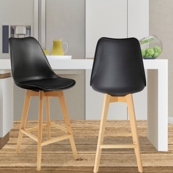 Lot de 2 tabourets de bar Scandina Noir