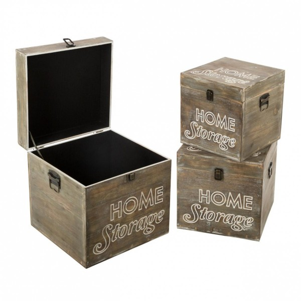 Lote de 3 baúles Home Storage Natural
