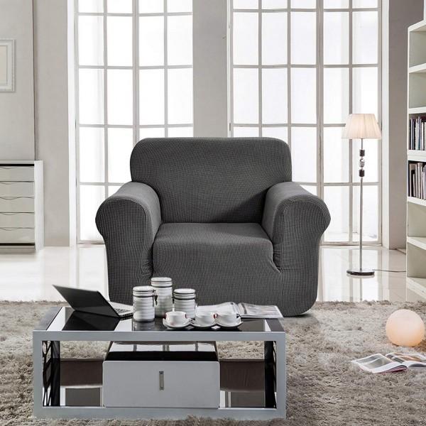 housse de fauteuil extensible prisca gris acier d co. Black Bedroom Furniture Sets. Home Design Ideas