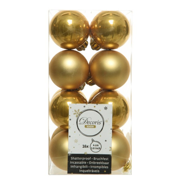 Lot de 16 boules de Noël (D40 mm) Alpine jaune moutarde
