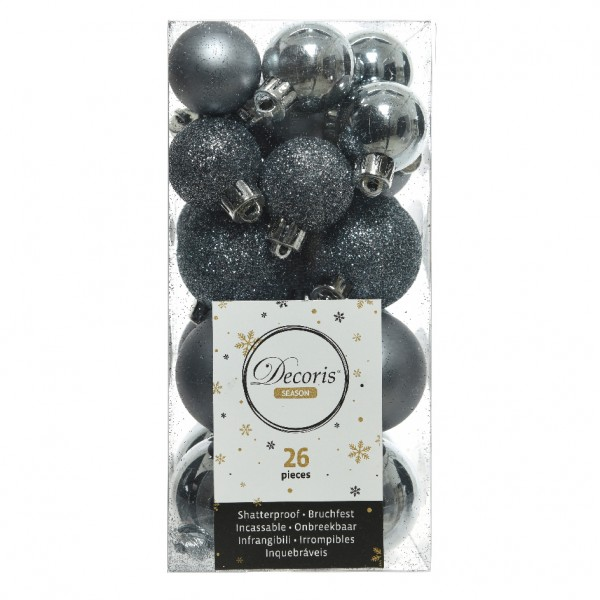 Lot de 26 boules de Noël assorties Alpine Bleu gris