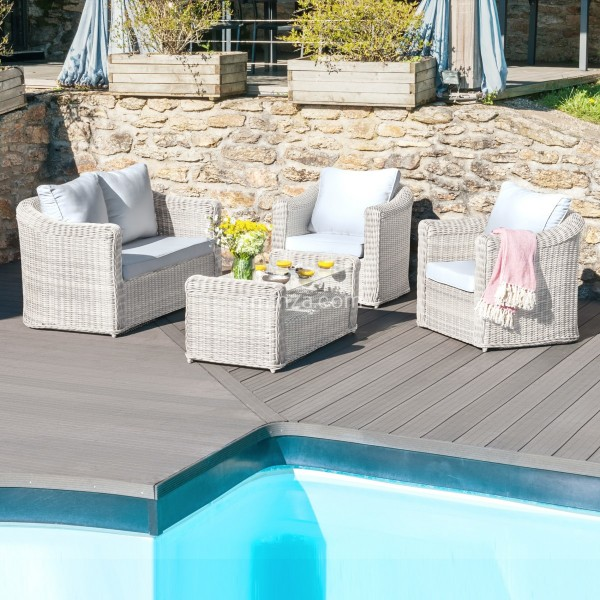 salon de jardin calvi blanc gris clair 4 places salon de jardin table et chaise eminza