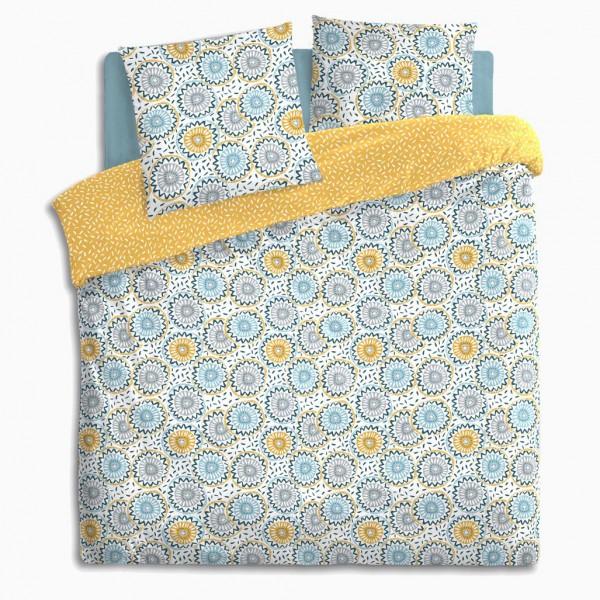 housse de couette et deux taies coton 240 cm elyo bleu et jaune linge de lit eminza