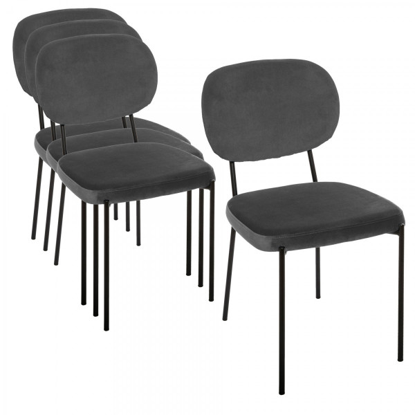 Lot de 4 chaises Velours Talia Grises