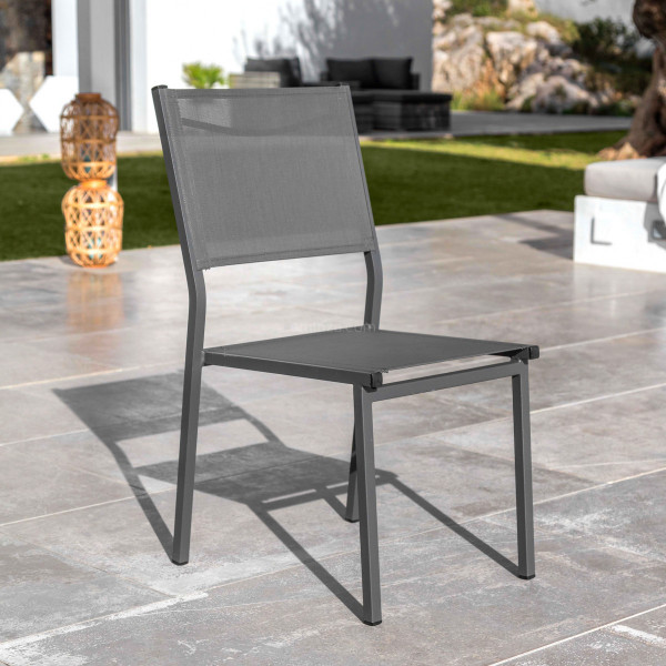 Chaise de jardin alu empilable Murano - Gris anthracite
