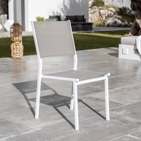 Chaise de jardin alu empilable Murano - Blanc / Taupe
