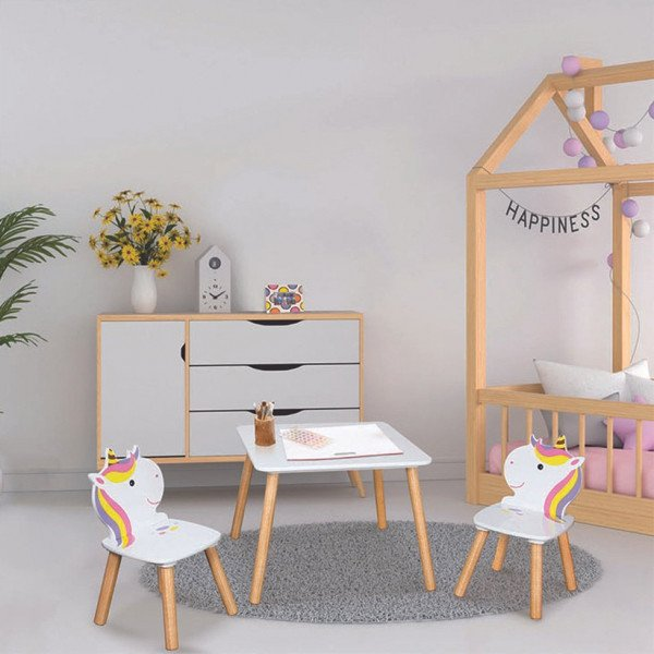 Table et 2 chaises Licorne Lily Blanches