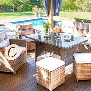 Comedor de exterior - Conjunto de jardín, mesa y silla - Eminza