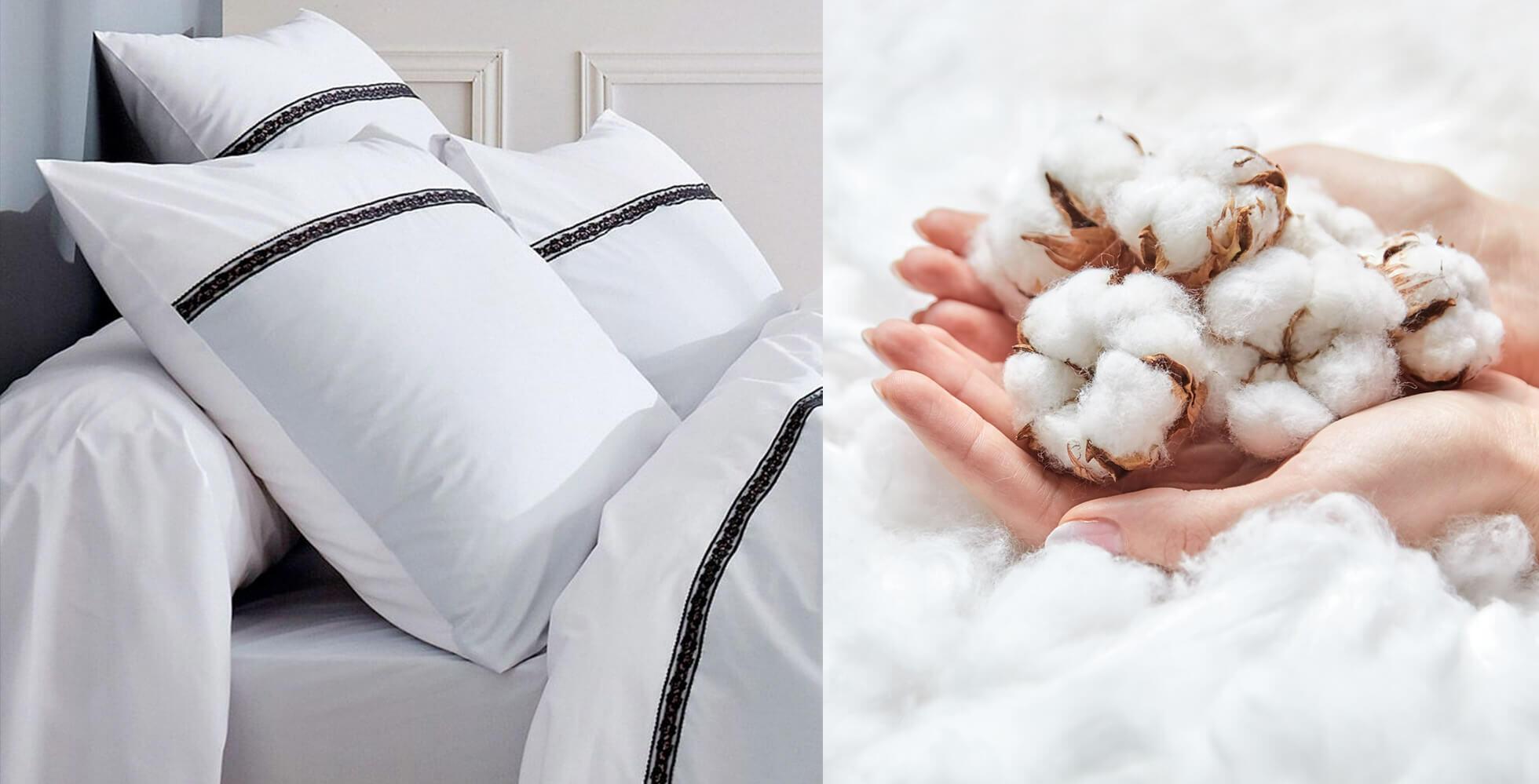 Biancheria da letto bianca e fiori di cotone