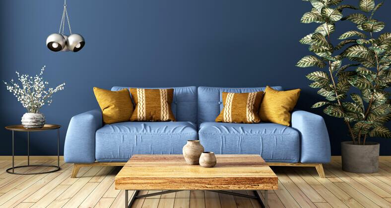 salon moderne bleu