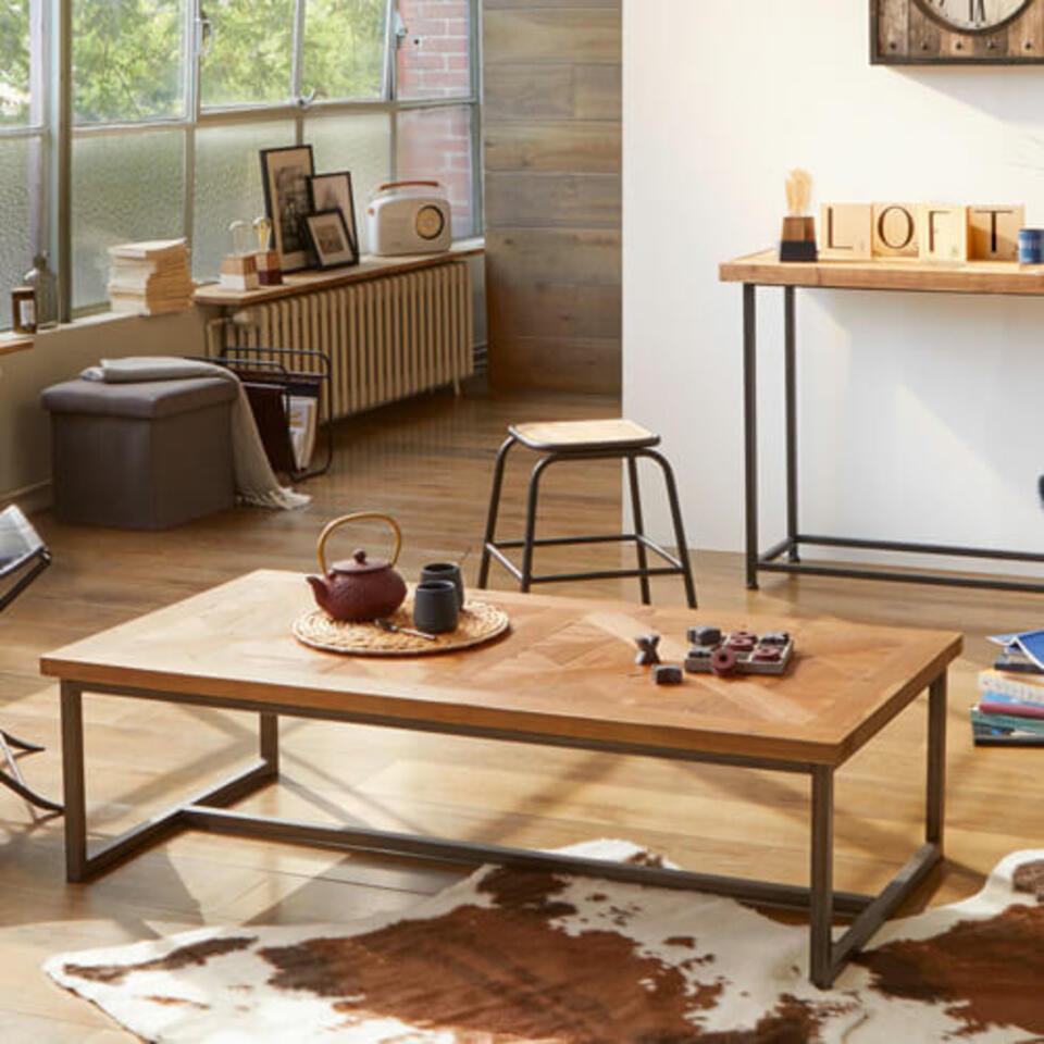 table basse en bois et métal noir
