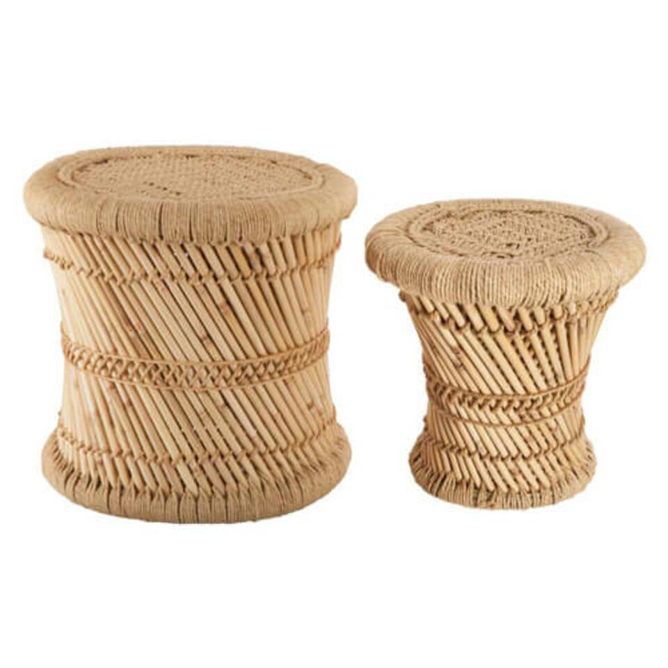table ronde en bambou et chanvre