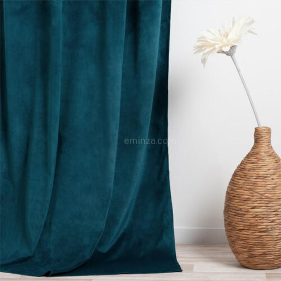 rideau en velour bleu canard