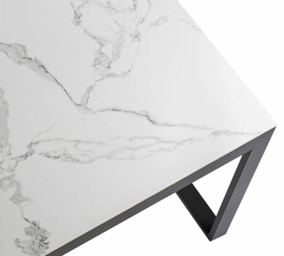 mesa de jardín de cerámica efecto mármol