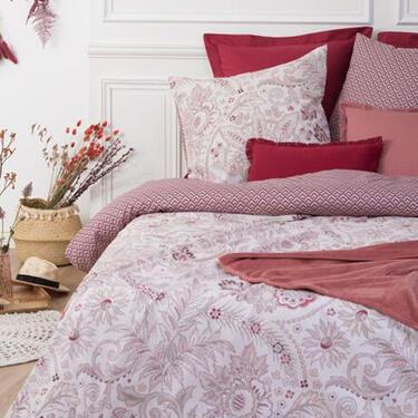 Housse de couette rouge à motifs fleuris