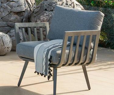 sillón de jardín de aluminio gris antracita