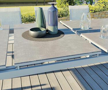 mesa de aluminio extensible para 10 personas