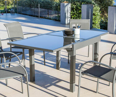 Mesa de jardín de aluminio y vidrio templado