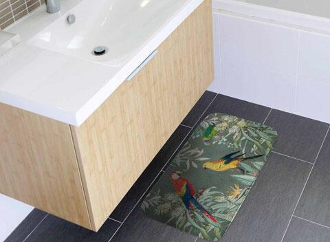 alfombra de baño multicolor